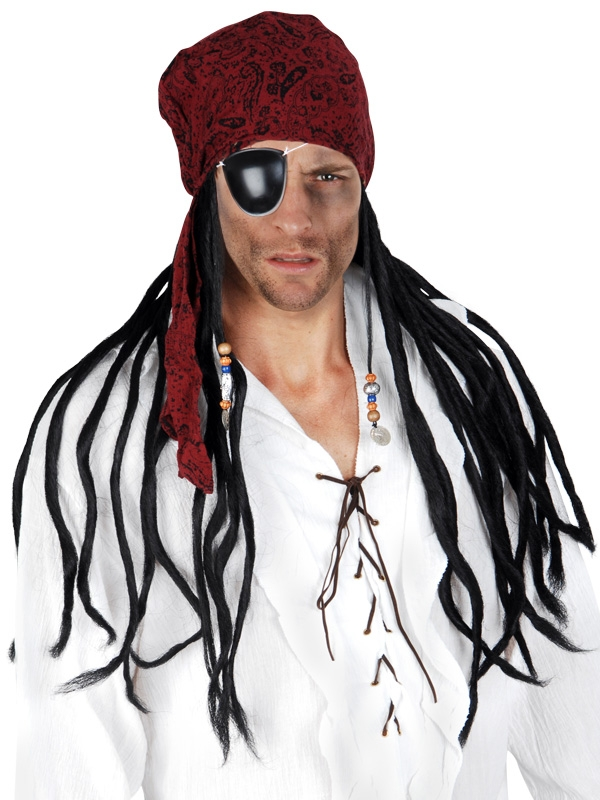 DELUXE PIRATE WIG WITH DREADS & SCARF