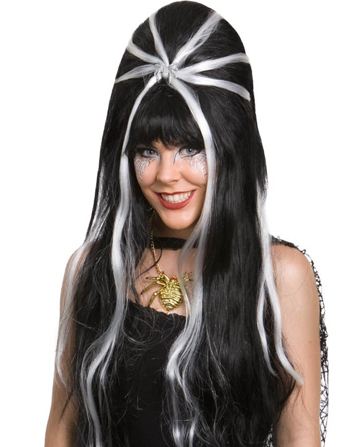 BEEHIVE WIG LONG BLACK WITH WHITE STRIPES & SILVER SPIDER