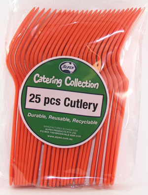 DISPOSABLE CUTLERY - ORANGE FORKS PK 25