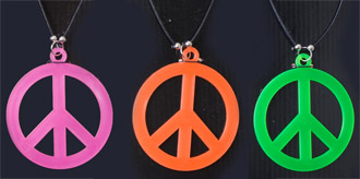 HIPPIE PEACE SIGN NEON NECKLACES