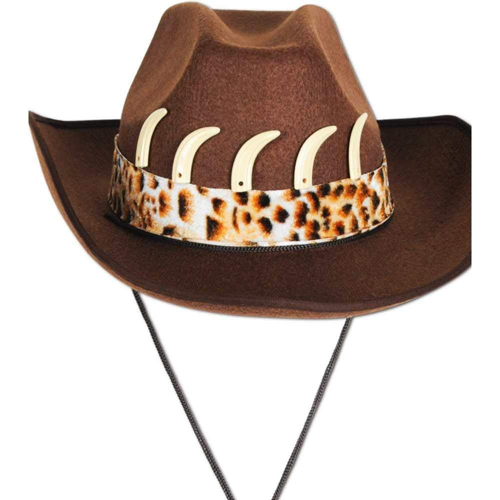 OUTBACK JUNGLE BROWN SUEDE HAT WITH CROCODILE TEETH