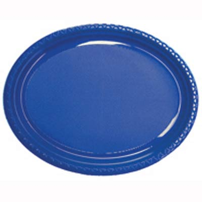 DISPOSABLE OVAL PLATES BLUE - PACK OF 25