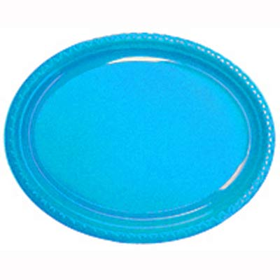 DISPOSABLE PLATES LARGE OVAL - AZURE BLUE PACK OF 25