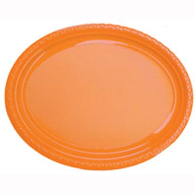 DISPOSABLE PLATES LARGE OVAL - ORANGE PACK OF 25