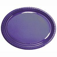 DISPOSABLE PLATES LARGE OVAL - PURPLE PACK OF 25