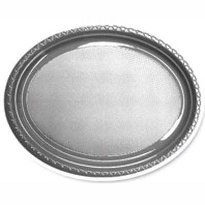 DISPOSABLE PLATES LARGE OVAL - SILVER PACK OF 25