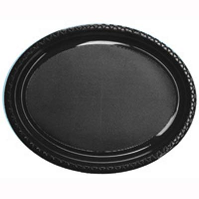 DISPOSABLE OVAL PLATES BLACK - PACK OF 25