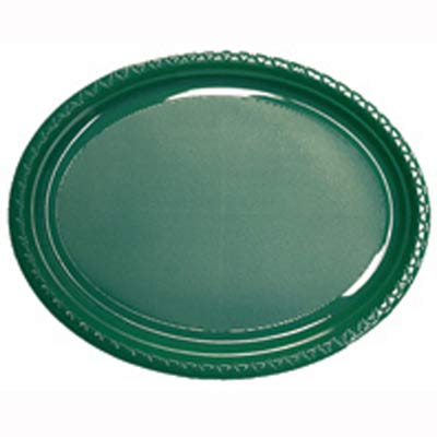 CHRISTMAS GREEN LARGE OVAL PLATES - PACK OF 25