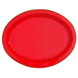 CHRISTMAS RED LARGE OVAL PLATES - PACK OF 25