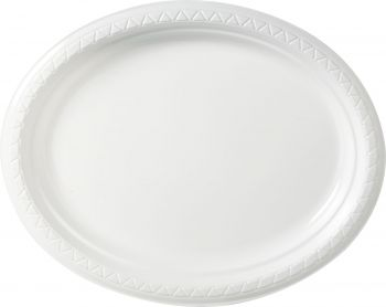 DISPOSABLE PLATES LARGE OVAL - WHITE PACK OF 25