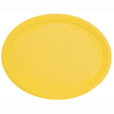 DISPOSABLE PLATES LARGE OVAL - YELLOW PACK OF 25