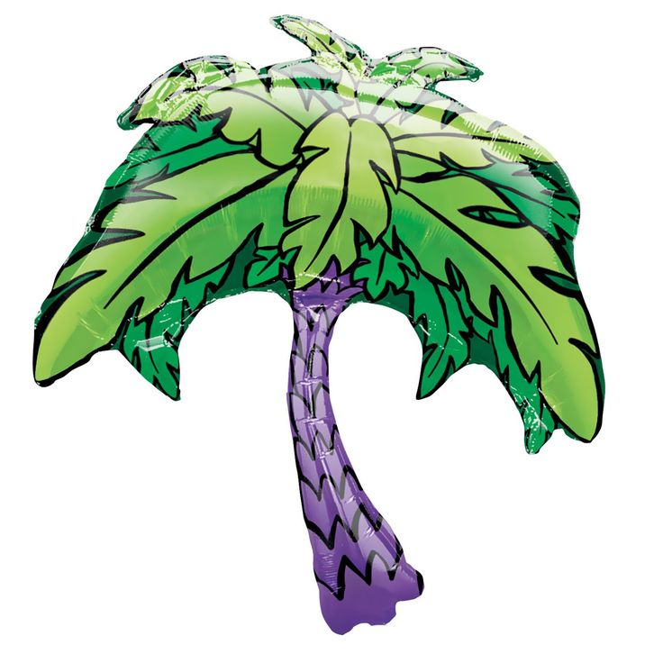 FOIL SUPER SHAPE BALLOON - PALM TREE (PURPLE TRUNK)