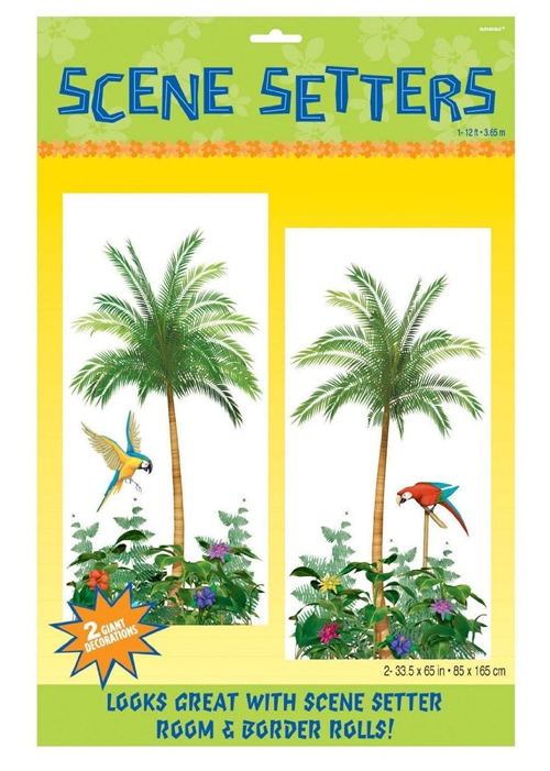 SCENE SETTER - HAWAIIAN/LUAU PALM TREE & TROPICAL BIRD SCENE SET