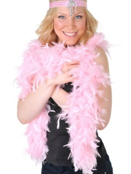 FEATHER BOA - MEDIUM WEIGHT PASTEL PINK