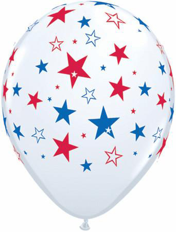 BALLOONS LATEX - PATRIOTIC STARS AROUND - PACK OF 6