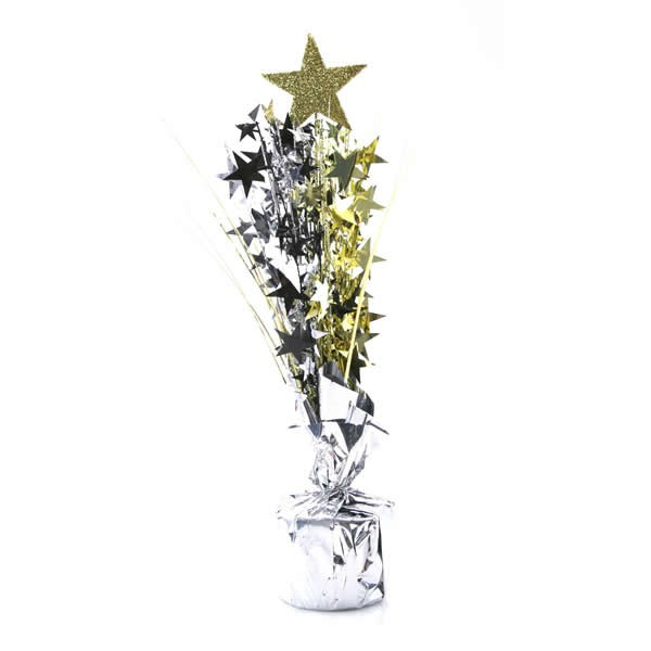 HOLLYWOOD STAR WEIGHTED CENTREPIECE - GOLD, BLACK & SILVER