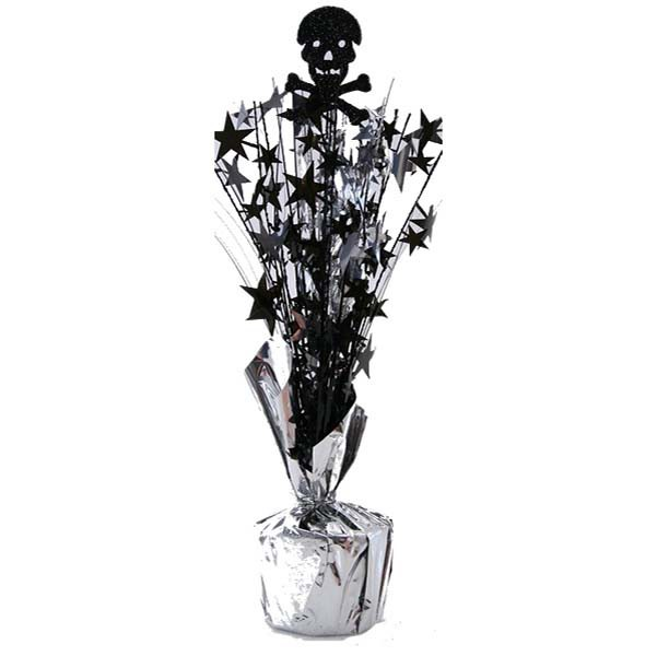 GLITTER SKULL & CROSS BONES WEIGHTED TABLE CENTREPIECE