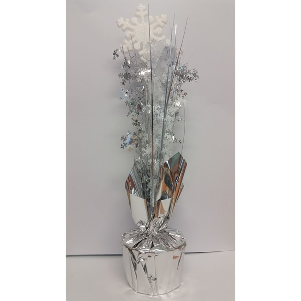 SNOWFLAKE WHITE & SILVER SPRAYS WEIGHTED CENTREPIECE