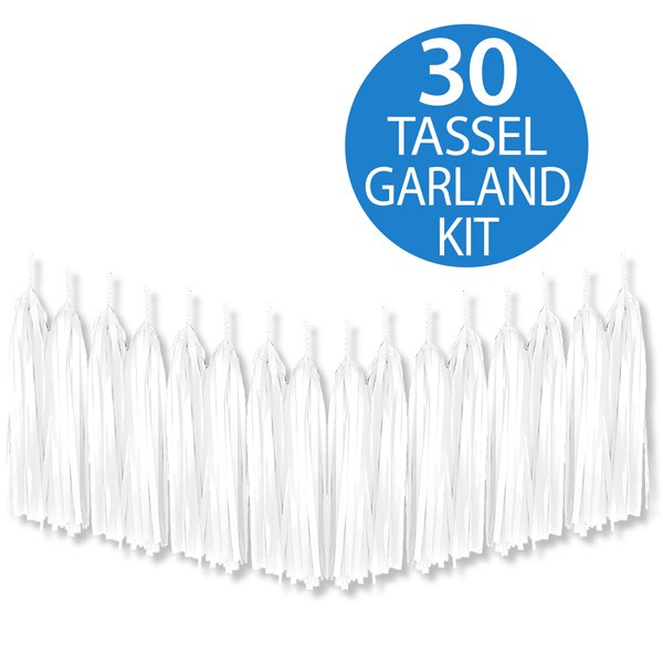 TISSUE PAPER TASSEL GARLAND - WHITE 2M LONG