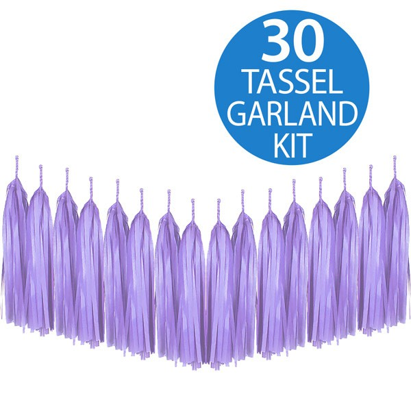 TISSUE PAPER TASSEL GARLAND - LAVENDER LILAC 2M LONG