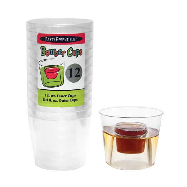 CLEAR PLASTIC BOMBER CUPS - PACK OF 12