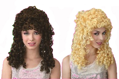 CURLY PERM PARTY WIG - BLONDE OR BROWN