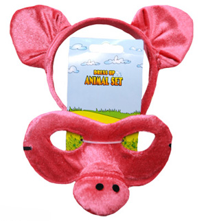 HEADBAND & MASK SET - PINK PIG