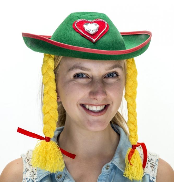4d1e0a04e47 German austrian Girl Hat With Blonde Pigtails - Party Supplies Online -  Australia s biggest online party shop