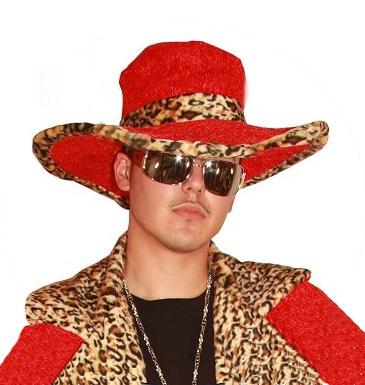 Image of Pimp Hat Red  Plush Leopard Print