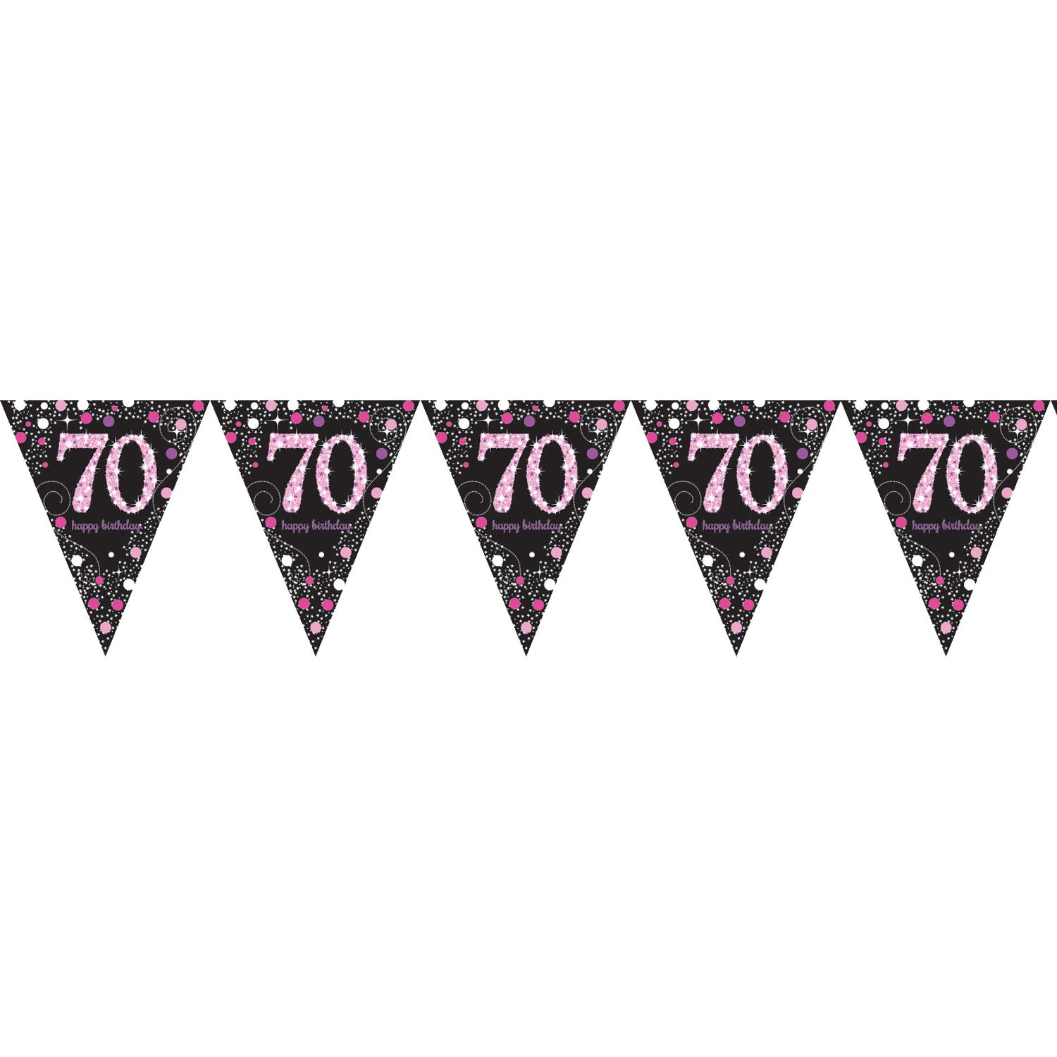 70TH BIRTHDAY PENNANT FLAG BUNTING - PINK & BLACK