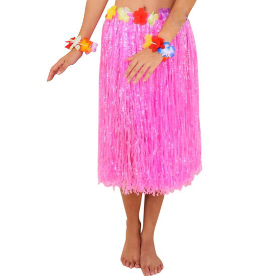 HAWAIIAN HULA SKIRT - PINK WITH FLOWERED WAIST LONG