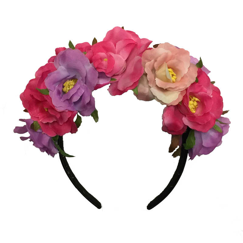HAWAIIAN/HIPPIE FLOWER HEADBAND - ROSES WITH LEAVES