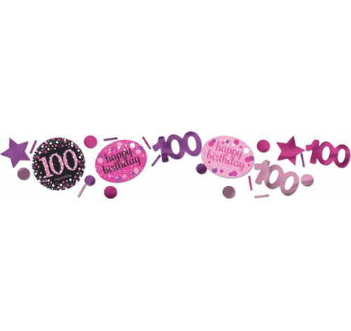 100TH BIRTHDAY SCATTERS SPARKLING - PINK, SILVER & BLACK