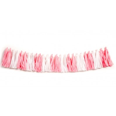TISSUE PAPER TASSEL GARLAND - SOFT PINK & WHITE 2M LONG
