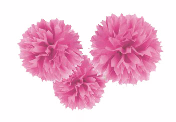 POM POM FLUFFY TISSUE DECORATION - PINK IN A PACK OF 3