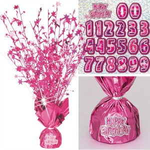 GLITZ PINK WEIGHTED TABLE DECORATION WITH NUMBERS