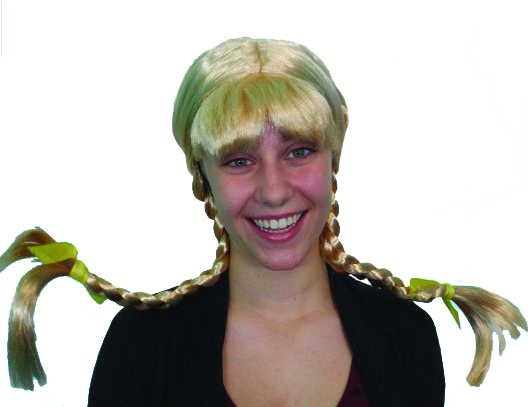 GERTRUDE LONG BLONDE PLAITS WIG TIED IN BOWS WITH FRINGE
