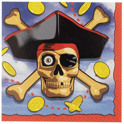 PIRATE BOUNTY NAPKINS - PACK OF 16