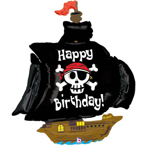 FOIL SUPER SHAPE BALLOON - 'HAPPY BIRTHDAY' PIRATE SHIP