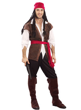 PIRATE CARRIBEAN MAN FANCY DRESS COSTUME