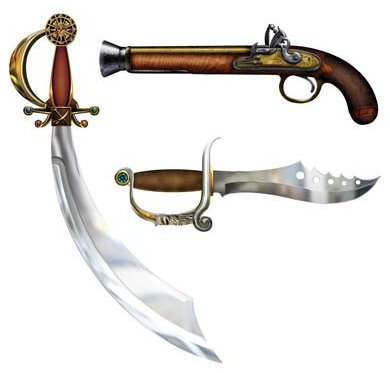 PIRATE WEAPON CUT OUTS SET OF 3
