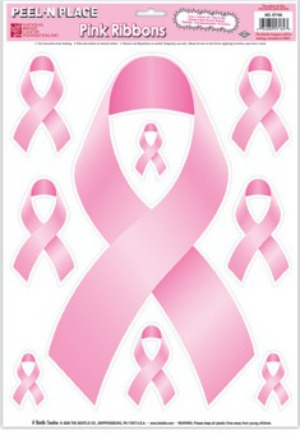 PINK RIBBON PEEL AND PLACE STICKERS