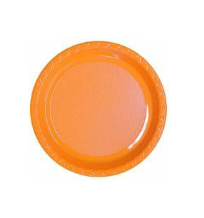 DISPOSABLE ENTREE / SNACK OR SIDE PLATE ORANGE - PACK OF 25