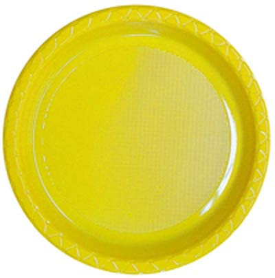 DISPOSABLE DINNER PLATE - YELLOW PACK OF 25