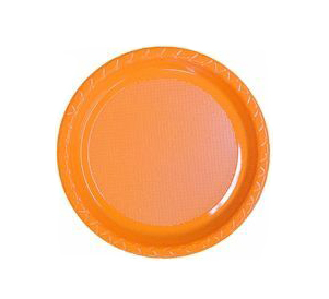DISPOSABLE ENTREE / SNACK PLATE - ORANGE PACK OF 25