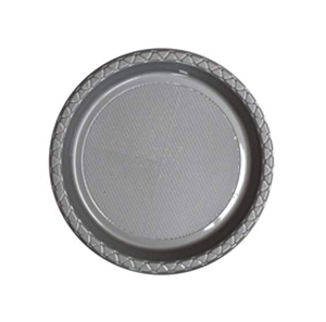 DISPOSABLE ENTREE / SNACK PLATE - SILVER PACK OF 25
