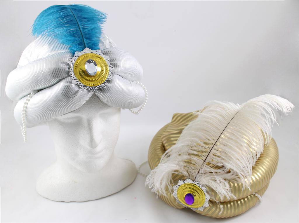 ADULT PLUSH TURBAN WITH JEWEL, FEATHER & BEADS