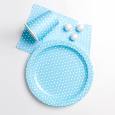 PALE BLUE POLKA DOT PARTY TABLEWARE SET