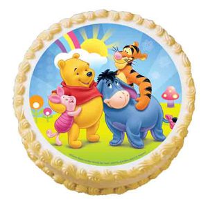 WINNIE THE POOH ROUND EDIBLE ICING IMAGE