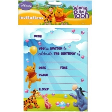 WINNIE THE POOH INVITATIONS - PACK OF 8